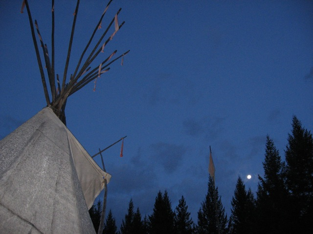 Dawn Full Moon over Cross River Teepee